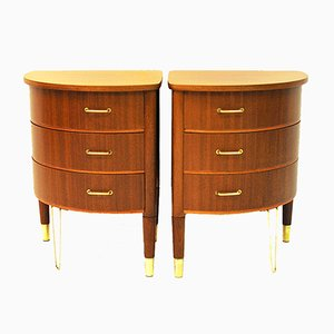 Tables Rondes en Acajou, Scandinavie, 1950s, Set de 2