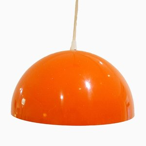 Orange Lacquer Suspended Lamp, 1970s