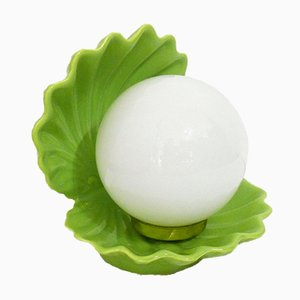 Green Opaline Shell Lamp, 1980s