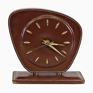 Leather Table Clock by Jacques Adnet, 1950s