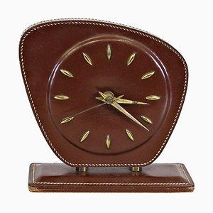 Reloj de mesa de cuero de Jacques Adnet, años 50