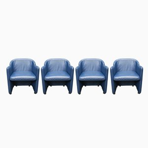 Foldable Blue Leather Tub Dining Chairs from Durlet, 1980s, Set of 4