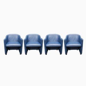 Klappbare Esszimmerstühle aus blauem Leder von Durlet, 1980er, 4er Set