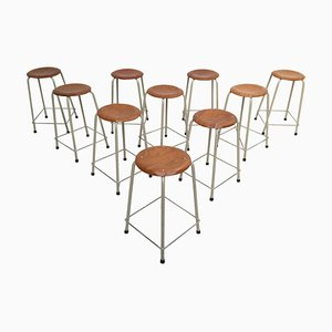 Industrial Dutch University Lab Stackable Stools from Ahrend De Cirkel, 1970s, Set of 10