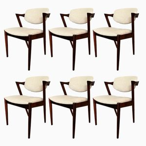 Customizable Rosewood Model 42 Chairs by Kai Kristiansen for Schou Andersen, 1960s, Set of 6