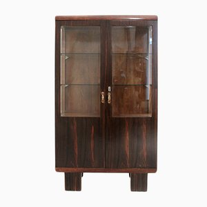 Mid-Century Italian Wood & Glass Display Cabinet, 1930s