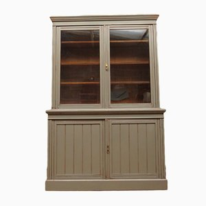 Large Antique Grey Painted Bookcase Cabinet
