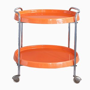 Orange Plastic & Chromed Metal Bar Trolley, 1950s