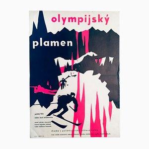 Vintage Olympisches Feuer Filmplakat, 1970er