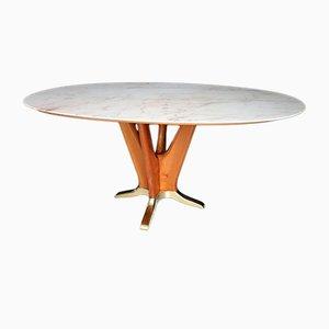 Mesa de comedor italiana de madera de cerezo con mármol rosa, años 50