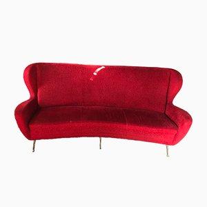 Sofá de tres plazas de lana roja de Marco Zanuso, años 50
