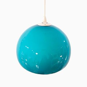 Turquoise Opal Glass Ball Pendant, 1970s