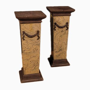 Italian Lacquered and Painted Columns, 1960s, Set of 2