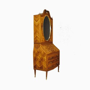 Italian Walnut Secretaire Cabinet with Mirror, 1960s