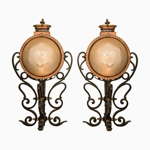 Antique Portuguese Copper, Wrought Iron, and Glass Palace Lamps, Set of 2