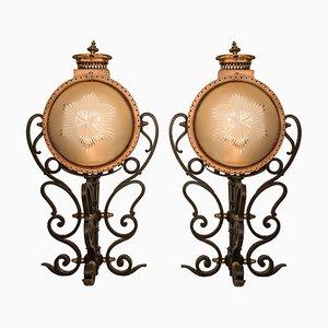 Lámparas de palacio portuguesas antiguas de cobre, hierro forjado y vidrio. Juego de 2