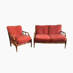 Mid-Century Bamboo & Velvet Seating Set
