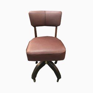 Sedia da ufficio vintage in pelle e quercia