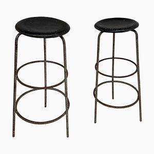 Mid-Century Industrial Swiss Stools, 1950s, Set of 2
