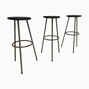 Mid-Century Industrial Swiss Stools, 1950s, Set of 3