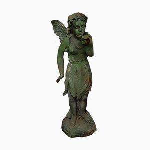 Green Cast Iron Fairy Garden Sculpture, 1930s