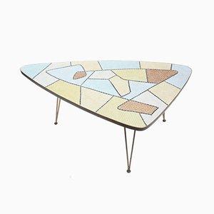 Dreieckiger Couchtisch mit Mosaikplatte mit Intarsien, 1950er