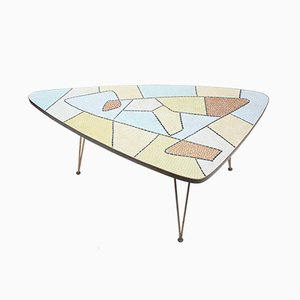 Triangular Coffee Table with Glass Mosaic Inlaid Top, 1950s