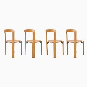 Vintage Stackable Beech and Plywood Chairs by Bruno Rey for Dietiker, 1970s, Set of 4