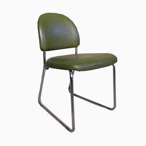 Chaise d'Appoint Industrielle en Skaï et Acier, 1960s