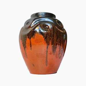 Vase Art Déco en Céramique avec Vernis Noir et Orange par Harald Ostergren pour Ekeby, 1930s