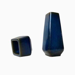 Blaue Mid-Century Keramikvasen von Sven Jonson für Gustavsberg, 1960er, 2er Set
