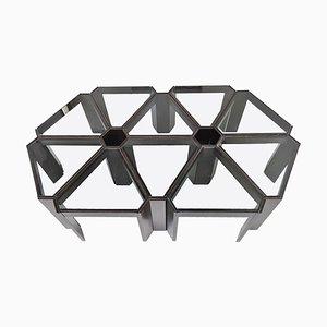 Modulare italienische Couchtische aus Glas & Holz, 1970er, 10er Set