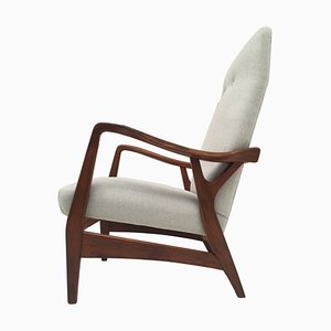 Danish Teak & Wool High Back Lounge Chair, 1950s