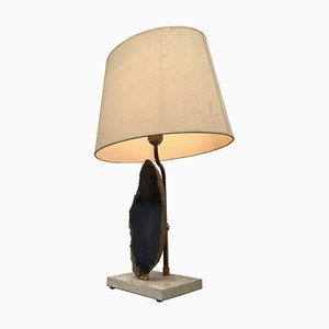 Vintage Belgian Agate, Brass & Travertine Table Lamp, 1970s