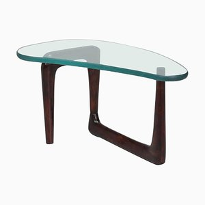 Italian Glass & Walnut Coffee Table, 1950s