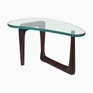 Italian Glass & Walnut Coffee Table, 1950s