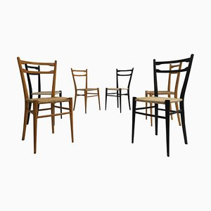 Italian Lacquered Birch & Paper Cord Dining Chairs, 1960s, Set of 6