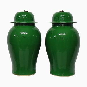 Grands Vases Émaillés Vert Émeraude, 1950s, Set de 2