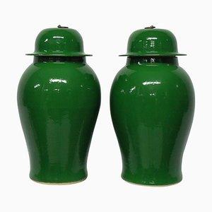 Vasi grandi color verde smeraldo, anni '50, set di 2
