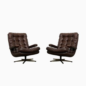 Vintage Danish Leather Swivel Chairs, 1960s, Set of 2