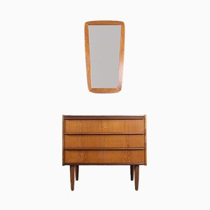 Vintage Danish Teak Chest of Drawers and Mirror Set, 1960s