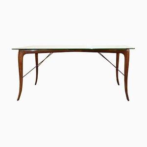 Tavolo in legno con ripiano in vetro di Melchiorre Bega, anni '50