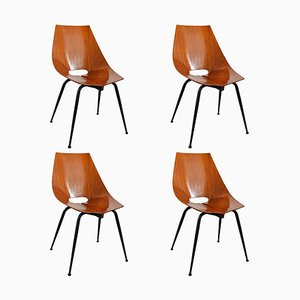 Curved Plywood Chairs from Società Compensati Curvati, 1960s, Set of 4