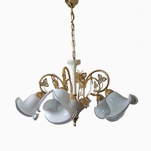Lámpara de araña bañada en oro de 24 quilates con pantallas de cristal de Murano de BC San Michele, años 80