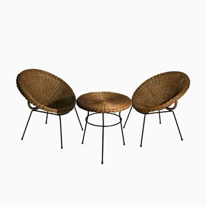 Mid-Century Italian Rattan & Metal Living Room Set, 1950s