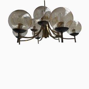 Lámpara de araña italiana modernista de latón y vidrio, años 50