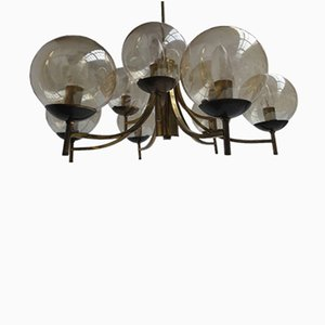 Modernist Italian Brass and Glass Chandelier, 1950s