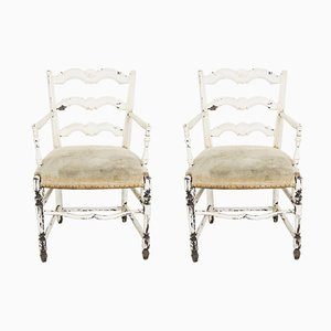 Antike französische Armlehnstühle, 2er Set