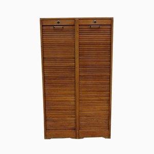 Industrial Oak Tambour Front Cabinet, 1950s