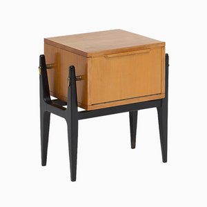 Mid-Century Wooden Bedside Cabinet, 1950s